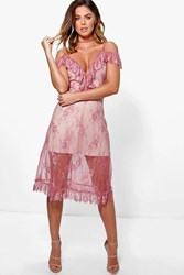 Boohoo Open Shoulder Lace Midi Skater Dress Rose