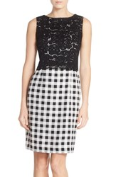 Women's Ellen Tracy Lace And Gingham Sheath Dress