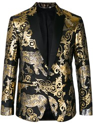 Philipp Plein 'Gold Vibe' Blazer Men Polyester Viscose 56 Black
