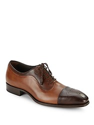 Mezlan Leather Wingtip Shoes Brown Cognac