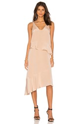 Tibi Pleated Double Layer Dress Beige