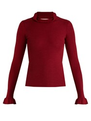 Red Valentino Ruffle Trimmed Cashmere And Silk Blend Sweater Burgundy