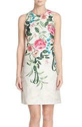 Women's Eliza J Placed Floral Print Stretch A Line Dress