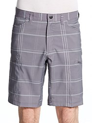 Hawke And Co Seven Pocket Checked Tech Shorts Grey Plaid