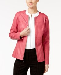 Alfani Faux Leather Peplum Jacket Only At Macy's Anything Rose