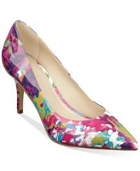 Marc Fisher Turnner Pointed Toe Pumps Women's Shoes Pink Floral Patent