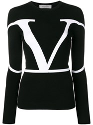 Valentino Contrast Logo Print Knitted Top Black