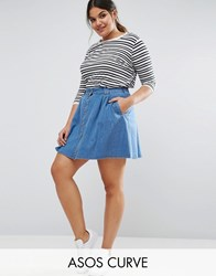 Asos Curve Denim Button Front Mini Skater Skirt In Mid Wash Blue Mid Wash