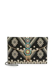 Design Lab Lord And Taylor Beaded Convertible Clutch Black Multi