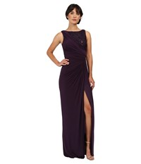 Adrianna Papell Draped Venecian Jersey Gown With Sequin Embroidered Lace Aubergine Women's Dress Purple