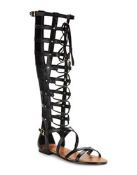 Vince Camuto Mesta Leather Tall Gladiator Sandals Black