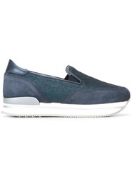 Hogan Glitter Detail Slip On Sneakers Blue