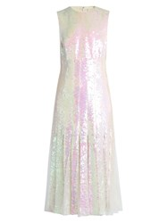 Christopher Kane Tulle Insert Sequinned Midi Dress Cream Multi