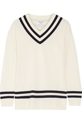 Frame Striped Wool And Cashmere Blend Sweater Ivory
