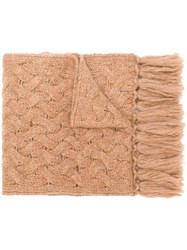 Lardini Cable Knit Scarf Nude And Neutrals