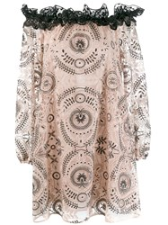 Giamba Embroidered Off The Shoulder Dress Pink