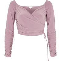 River Island Womens Nude Ruched Wrap Bardot Crop Top