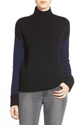 Petite Women's Halogen Colorblock Mock Neck Cashmere Sweater Black Navy Colorblock