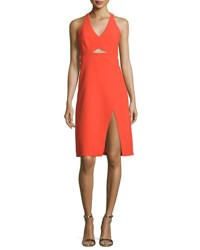 Halston Sleeveless V Neck Sheath Dress Grenadine
