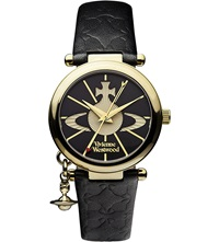 Vivienne Westwood Vv006bkgd Orb Ii Gold Plated And Leather Watch Black