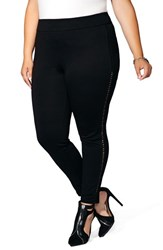Mblm By Tess Holliday Plus Size Women's Faux Leather Laced Ponte Leggings