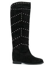 Via Roma 15 Studded Knee High Boots Black
