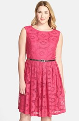 Plus Size Women's London Times Belted Crochet Lace Fit And Flare Dress Fuchsia