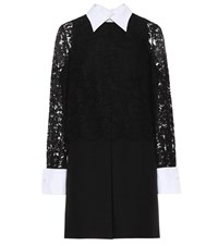 Valentino Lace Sleeved Wool And Silk Dress Black