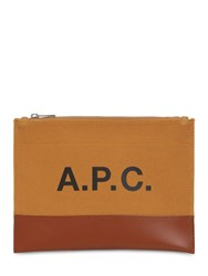 A.P.C. Logo Printed Cotton And Leather Pouch Caramel