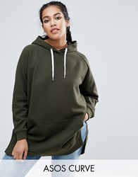 Asos Curve Hoodie In Oversized Fit With Side Splits Khaki Green