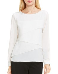 Vince Camuto Long Sleeve Asymmetrical Layered Blouse New Ivory