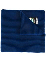 Moschino Ribbed Scarf Blue