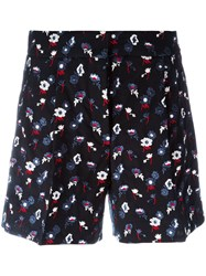 Thom Browne Embroidered Floral Shorts Women Silk Wool 42 Blue