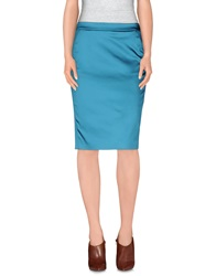 Frankie Morello Knee Length Skirts Turquoise