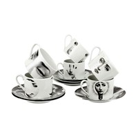 Fornasetti Tema E Variazioni 2005 Set Of 6 Teacups Black White