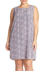Plus Size Women's Halogen Sleeveless Shift Dress Pink Navy Floral Print