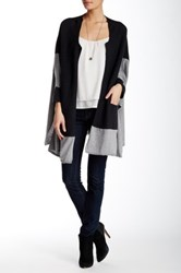 Lulu Colorblock Open Front Cardigan Gray