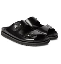Alexander Mcqueen Polished Leather Sandals Black
