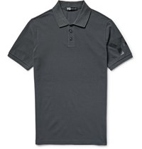 Y 3 Slim Fit Printed Cotton Pique Polo Shirt Charcoal