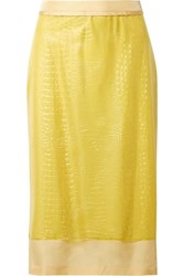 Sies Marjan Sula Layered Croc Effect Vinyl And Silk Satin Midi Skirt Yellow