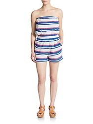 Saks Fifth Avenue Red Striped Strapless Short Jumpsuit
