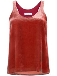 Bianca Spender Velvet Point Tank Red