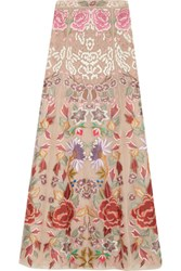 Temperley London Baudelaire Embroidered Silk Organza Maxi Skirt Beige