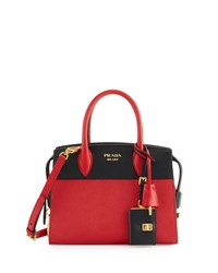 Prada Esplanade Medium Bicolor City Satchel Bag Red Black Fuoco Nero Black White