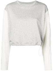 3.1 Phillip Lim Cable Knit Sleeve Sweatshirt Grey