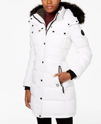 Calvin Klein Faux Fur Trim Quilted Puffer Coat White