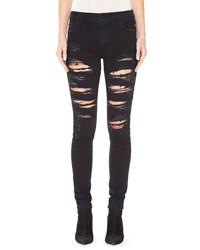 Alice Olivia Jane Embellished And Distressed Skinny Jeans Black