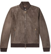 Dunhill Suede Bomber Jacket Brown