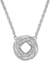 Macy's Diamond Love Knot Pendant Necklace In Sterling Silver 1 4 Ct. T.W.