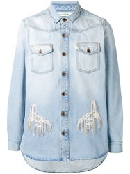 Off White Distressed Denim Shirt Blue